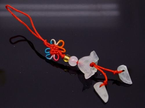 """Chinese Knot & Jade """"Flower"""" Cell Phone Charm [style19]"""