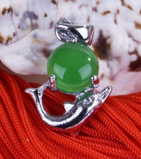 Silver Jade Dolphin Pendant Necklace