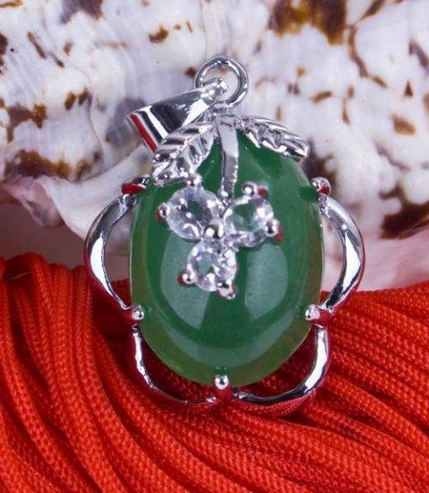"Silver Jade Crystal ""Fruit"" Pendant Necklace"