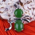 Silver Jade Bowtie Pendant Necklace