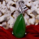 "Silver Jade Crystal ""Teardrop"" Pendant Necklace [style2]"