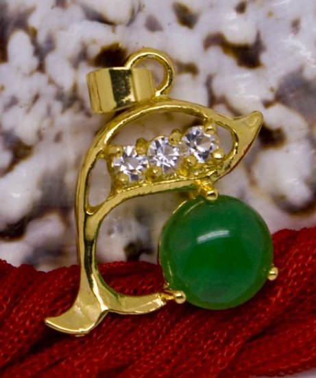 18K Gold Crystal Dolphin Jade Pendant Necklace