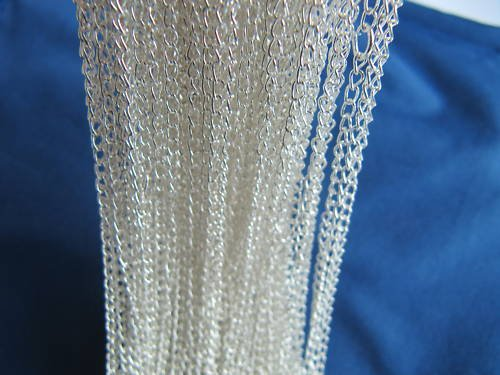 Lot of (50) .925 Sterling Silver Plated Chains Jewelry Findings [style1]