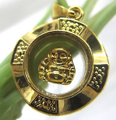 18K Gold Spinning Buddha Pendant Necklace