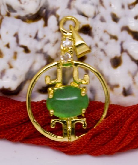 18K Gold Jade Crystal Chinese Lantern Pendant Necklace
