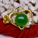 18K Gold Jade Heart Crystal Pendant Necklace [style3]