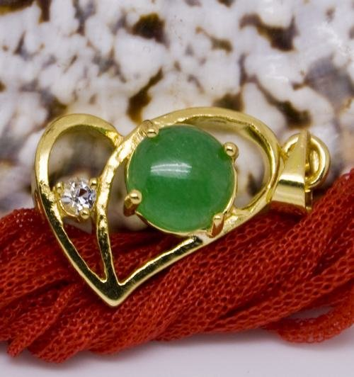 18K Gold Jade Heart Crystal Pendant Necklace [style4]