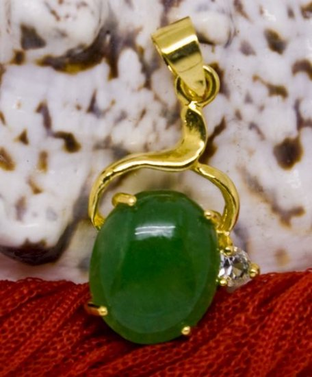 18K Gold Jade Crystal Pendant Necklace [style8]