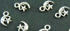 "Lot of (100) Tibetan Silver ""Moon & Star"" Charms"