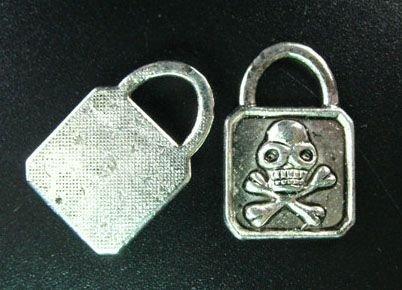 Lot of (20) Tibetan Silver Skull Skeleton Lock Padlock Charms