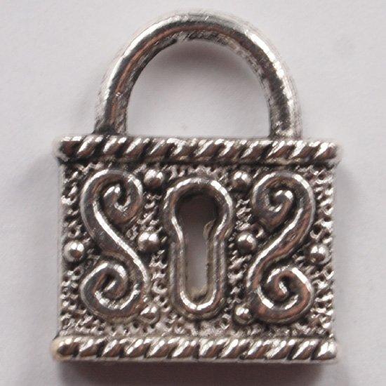 Lot of (15) Tibetan Silver Antique Lock Padlock Charms