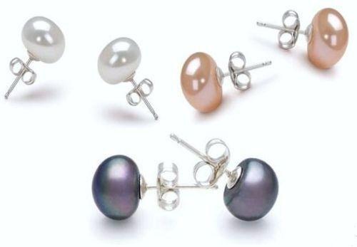 (3) Pairs Genuine Freshwater Pearl (White Black Pink) Stud Earrings
