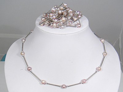 Genuine Pink Freshwater Pearl Link Necklace
