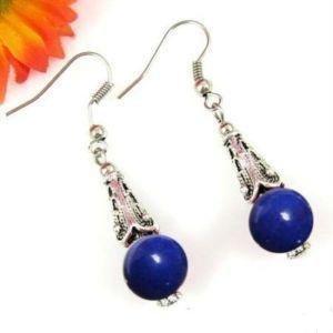 "Genuine Tibetan Silver ""Lapis Lazuli"" Earrings [style3]"