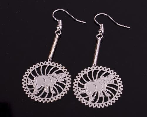 Silver Ox Cow Chinese Zodiac Earrings