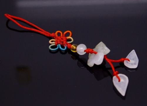 Chinese Knot & Jade Lotus Flower Cell Phone Charm [style21]