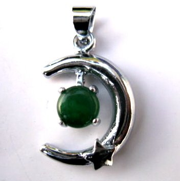 Silver Jade Crescent Moon & Star Pendant Necklace