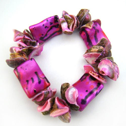 Fuchsia Pink Shell Bracelet