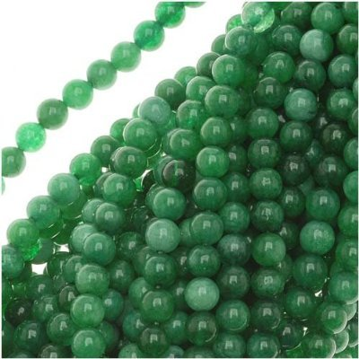 "Lot of (5) 16"" Strands Green Jade Round Beads Wholesale"