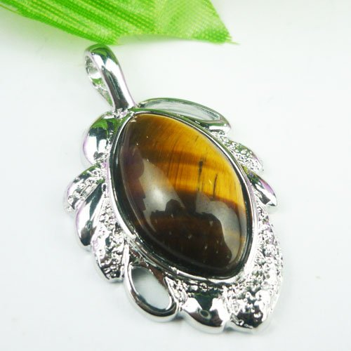 Silver Tiger's Eye Pendant Necklace [style1]