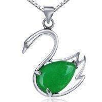 Silver Jade Swan Pendant Necklace