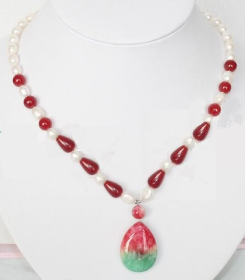 Red Green Jade Freshwater Pearl Necklace Earring Set
