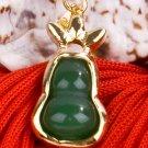 18K Gold Jade Gourd Pendant Necklace