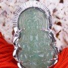Silver Jade Kwan Yin Guan Yin Guanshiyin Avalokiteśvara Buddhist Amulet Talisman Pendant Necklace