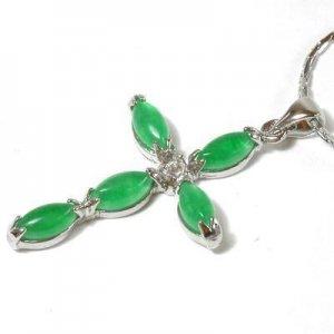 Silver Jade Crystal Christian Cross Pendant Necklace