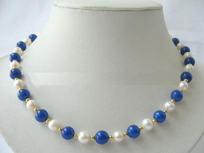Genuine White Freshwater Pearl Lapis Lazuli Necklace Earring Set