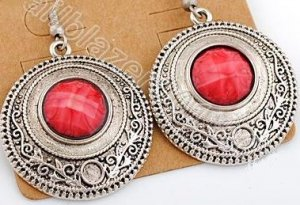Ethnic Indian Nepali Gypsy Antique Silver Red Circle Round Earrings
