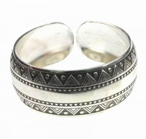 Antique Silver Ethnic Tribal Cuff Bracelet Bangle