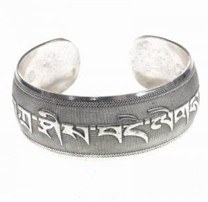 Antique Tibetan Inscription Silver Cuff Bracelet Bangle [style3]
