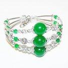 Tibetan Silver Green Jade Bracelet [style 4]