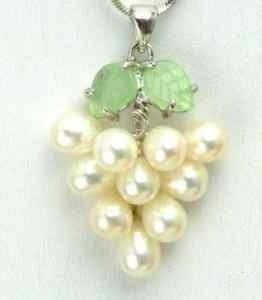 "Genuine White Freshwater Pearl ""Grape Cluster"" Jade Green Leaf Pendant Necklace"