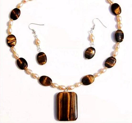 Genuine Freshwater Pearl & Tiger's Eye Pendant Necklace Earring Set