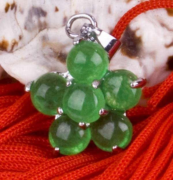 Silver Jade Flower Amulet Pendant Necklace