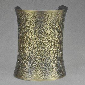 Ethnic Vintage Bronze Wide Open Ended Cuff Bangle Indian Bracelet