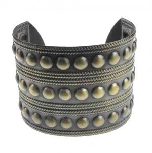Antique Bronze Military Studded Cuff Bangle Bracelet