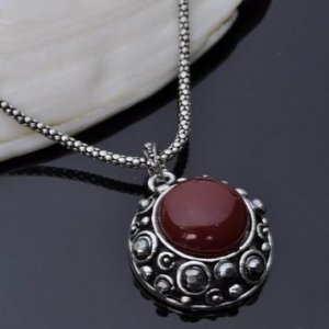 Antique Silver Gothic Blood Red Round Talisman Pendant Necklace