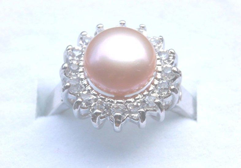 Genuine Pink Freshwater Pearl Crystal Ring
