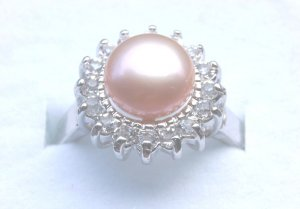 Genuine Pink Freshwater Pearl Crystal Ring