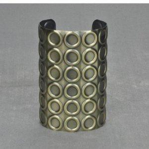 Antique Bronze Military Studded Wide Cuff Bangle Bracelet