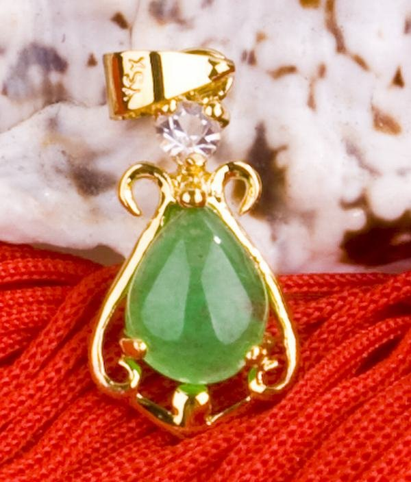 18K Gold Jade Crystal Pendant Necklace [style20]