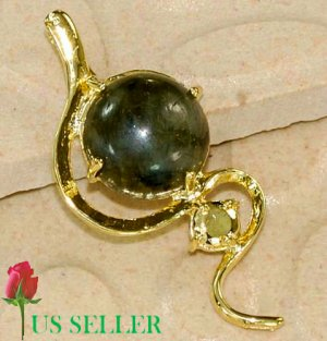 18K Gold Plated Labradorite Pendant Necklace