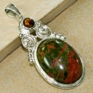 Silver Tiger's Eye Unakite Pendant Necklace