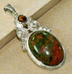 Silver Tiger's Eye Unakite Pendant Necklace