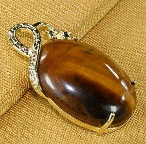 18K Gold Tiger's Eye Pendant Necklace