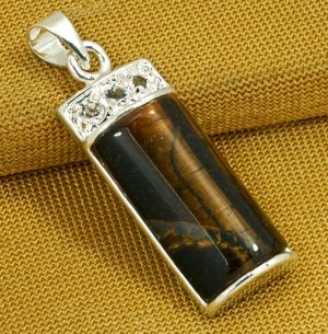 Silver Tiger's Eye Pendant Necklace [style7]