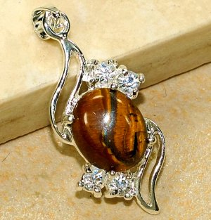 Genuine Tiger's Eye Cubic Zirconia Crystal Pendant Necklace